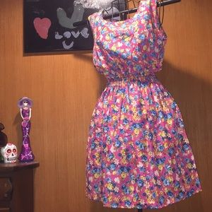 Dresses & Skirts - Pink chiffon dress with multi color floral print